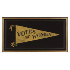 """LARGE TRIANGULAR SUFFRAGETTE PENNANT WITH FANCIFUL """"VOTES FOR WOMEN"""" TEXT AND A ST. LOUIS MAKER'S LABEL, 1910-20"""