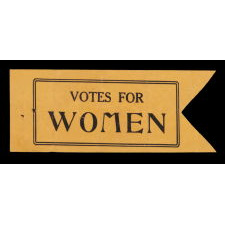 """UNUSUAL, PAPER, SWALLOWTAIL DESIGN SUFFRAGETTE BADGE WITH """"VOTES FOR WOMEN"""" TEXT, 1910-1920"""